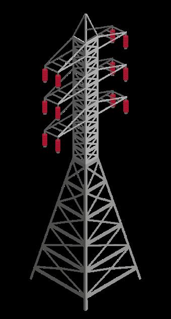 Ilustração de uma torre de transmissão