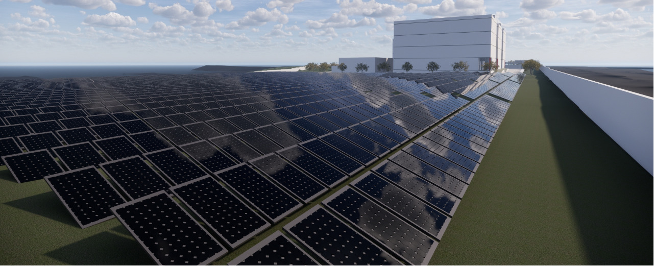 Painéis solares em data center